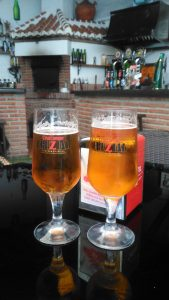 Two ice cold Spanish beers in a local bar!