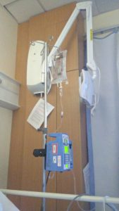 Picture of MGM's intravenous drip and beeping machine.