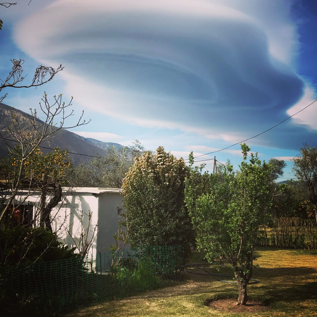 Seriously amazing 'spaceship' clouds over the Cortijo...