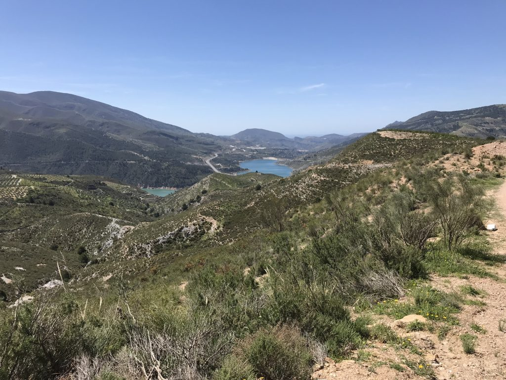 The view down to the reservoirs and Mediterranean!